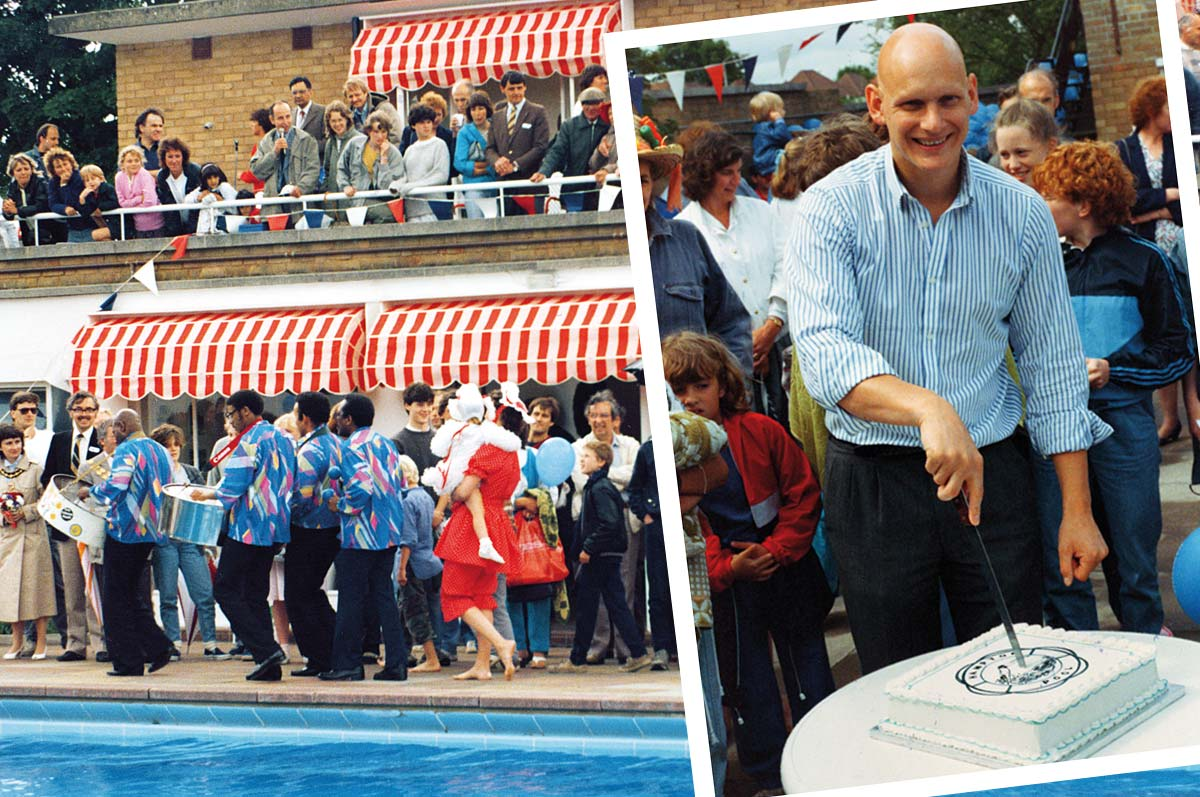 Guest of honour Olympic Gold winning medallist Duncan Goodhew cuts the cake at the Opening Party in 1985